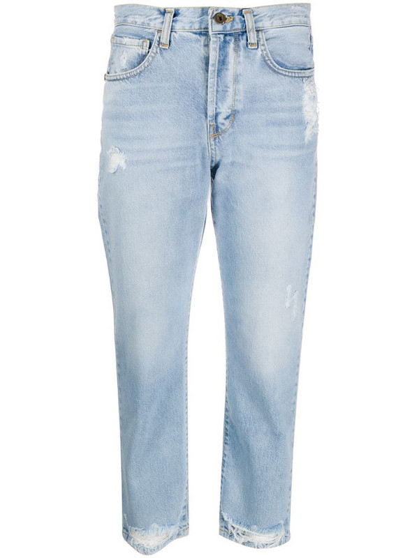 Merci ripped straight-leg cropped jeans in blue