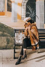 hallie daily,blogger,scarf,sweater,jeans,shoes,bag,sunglasses,belt,beret,winter outfits