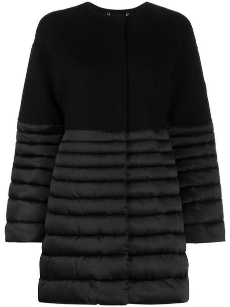 Elisabetta Franchi long-sleeved panelled puffer coat in black