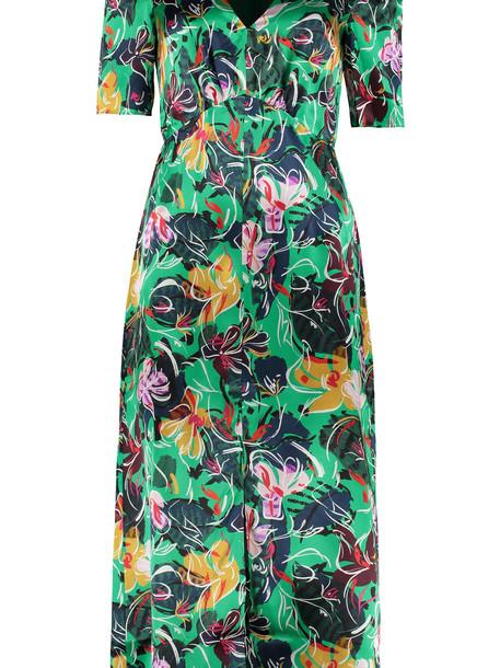 Saloni Eden Printed Satin Dress in green