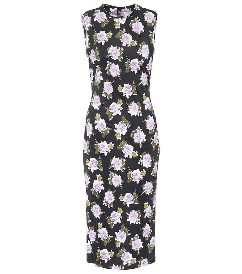 Erdem Clarys floral jersey midi dress in black