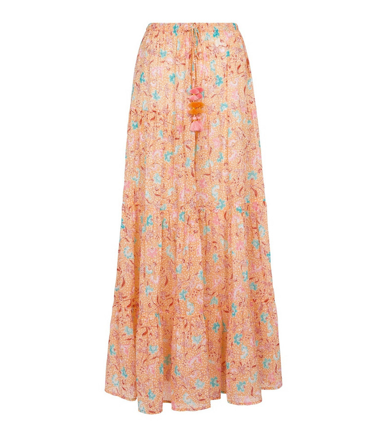 Poupette St Barth Exclusive to Mytheresa – Triny printed cotton maxi skirt in orange