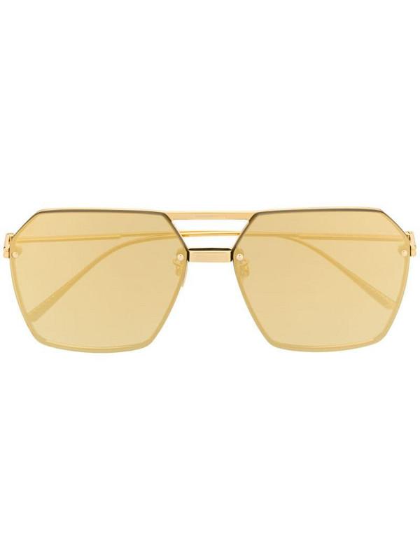 Bottega Veneta Eyewear geometric aviator sunglasses in gold