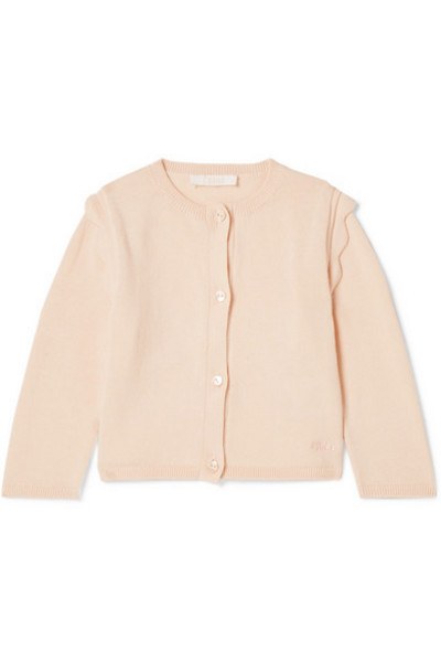 Chloé Kids - Months 6 - 18 Scalloped Cotton Cardigan in pink