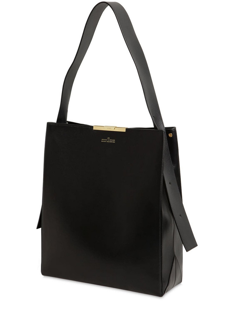 ROKH Large Box Leather Tote Bag in black