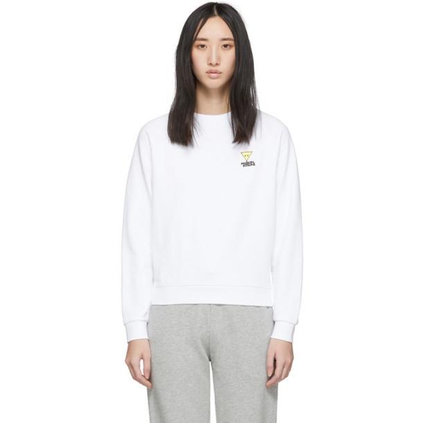Maison Kitsune White Smiley Fox Sweatshirt