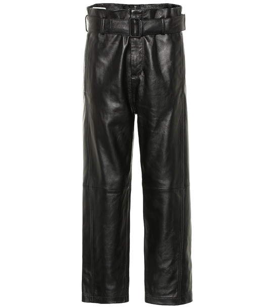 MM6 Maison Margiela High-rise leather pants in black