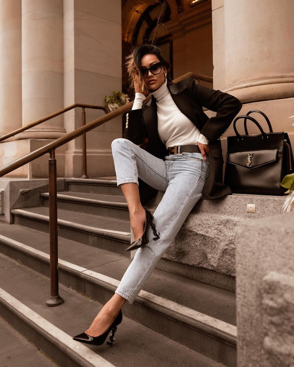 shoes pumps ysl mom jeans blazer white turtleneck top black bag