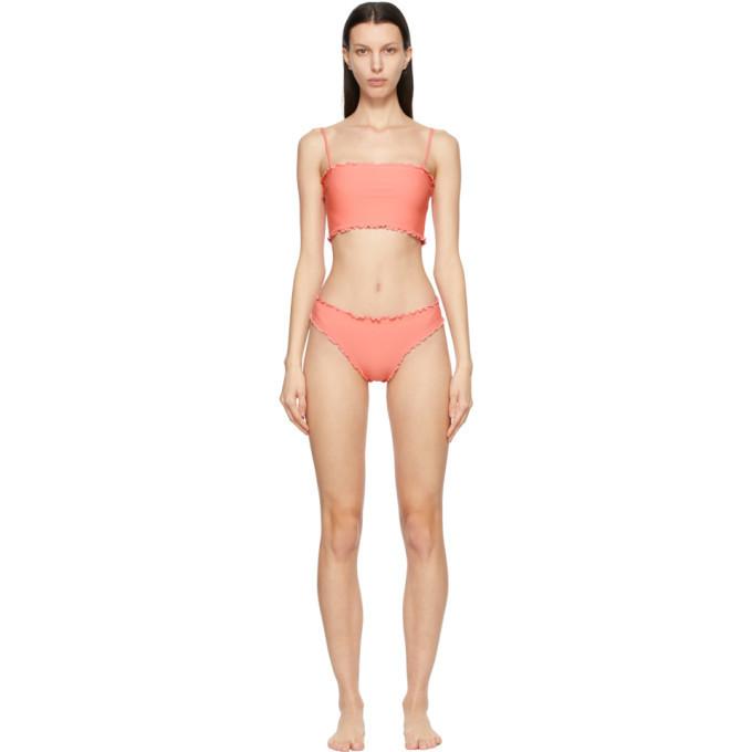 Sherris Pink Ruffle Tank Top Bikini in peach