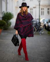 shoes,over the knee boots,red boots,black bag,black leggings,hat,poncho