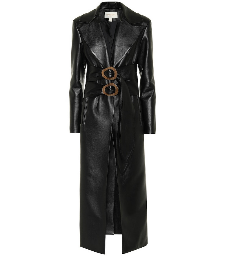 Matériel Tbilisi Double-belted faux-leather coat in black