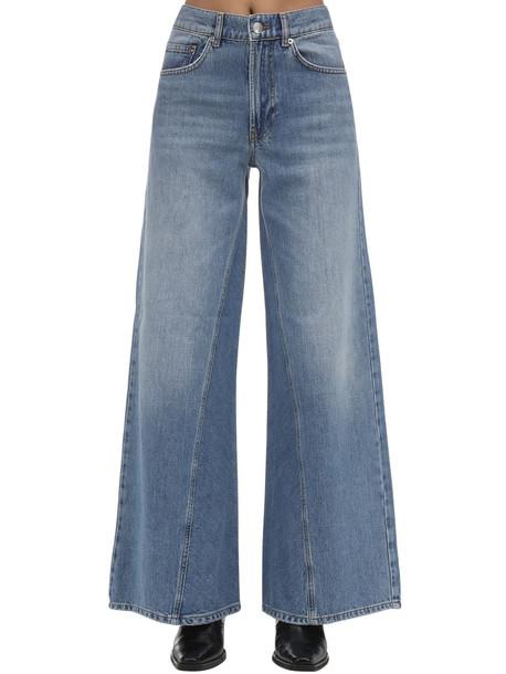 GANNI Wide Leg Cotton Denim Jeans in blue
