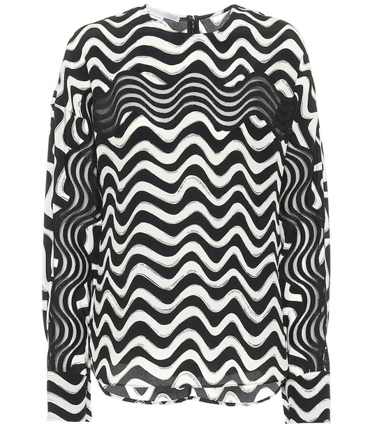 Stella McCartney Printed silk blouse in black