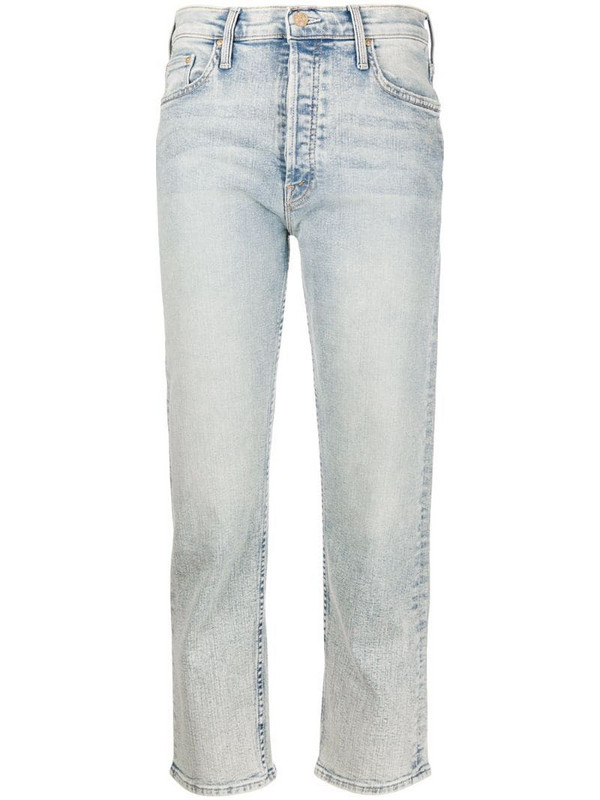 Mother Tomcat high-rise straight jeans in blue