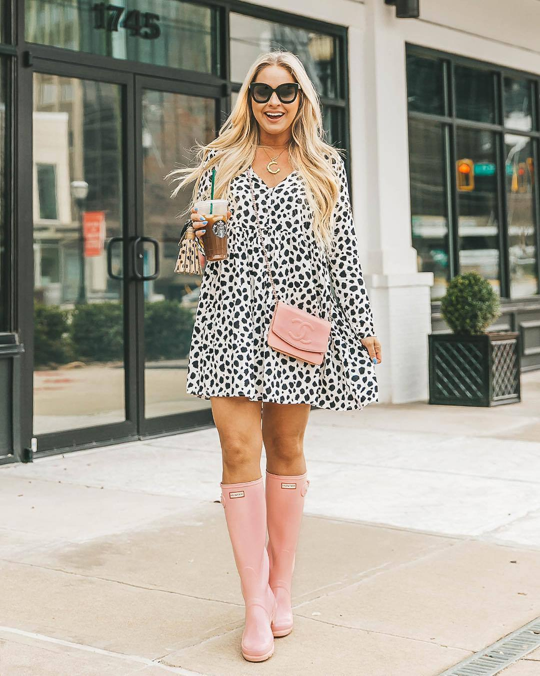 dress mini dress black and white long sleeve dress flat boots knee high boots chanel bag pink bag
