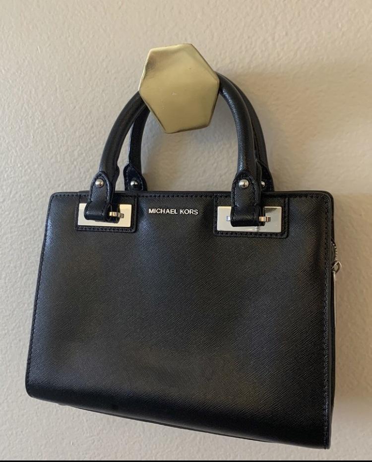bag black leather satchel michael kors