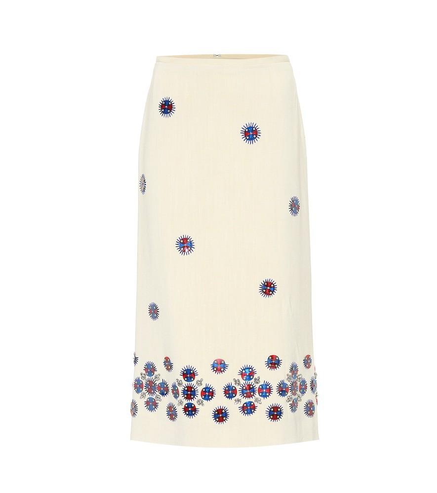 Dries Van Noten Embellished wool-blend skirt in white