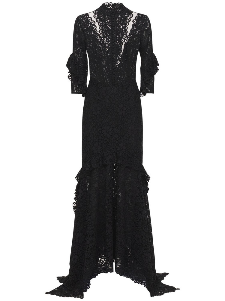 COSTARELLOS Belted Asymmetric Lace Dress in black
