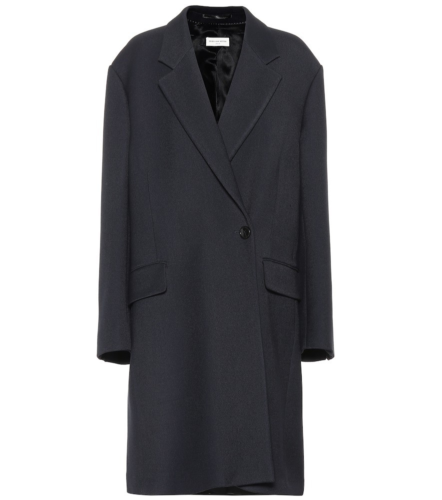 Dries Van Noten Wool and silk coat in blue