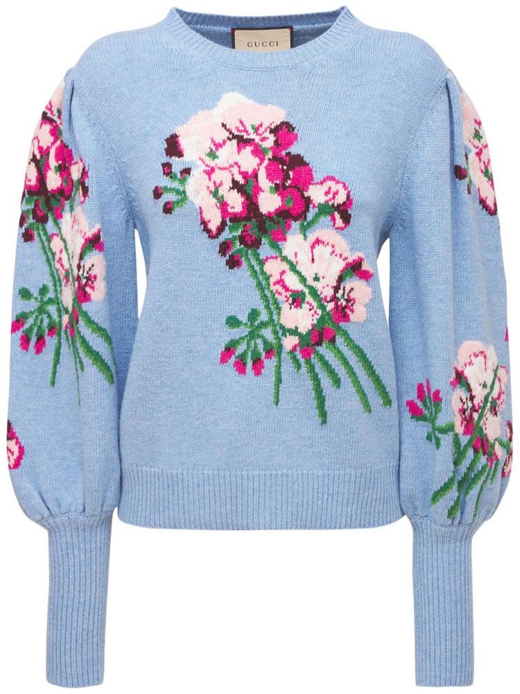 GUCCI Wool Knit Sweater in blue / multi