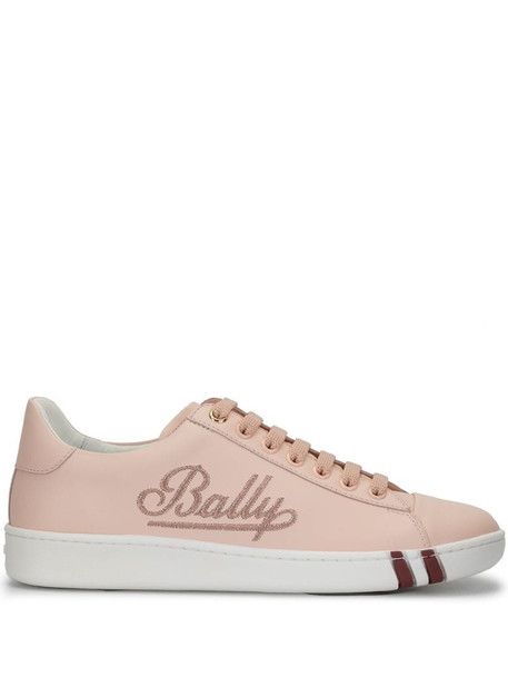 Bally embroidered logo low top sneakers in pink