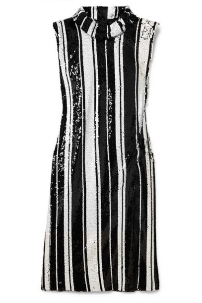 Halpern - Striped Sequined Silk Dress - Black