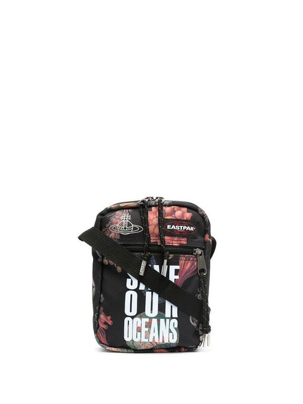 Eastpak Vivienne Westwood 'save our oceans' collaboration messenger bag in black