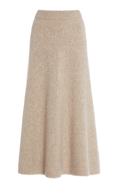 Gabriela Hearst Pablo Silk And Cashmere Bouclé Midi Skirt Size: L in neutral