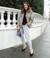 jacket,leopard print,faux fur jacket,mules,grey pants,joggers,black top,pvc,black bag