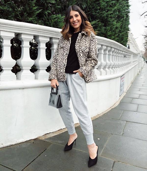 jacket leopard print faux fur jacket mules grey pants joggers black top pvc black bag