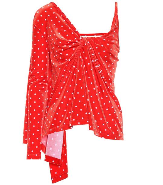 Balenciaga Polka-dot velvet top in red