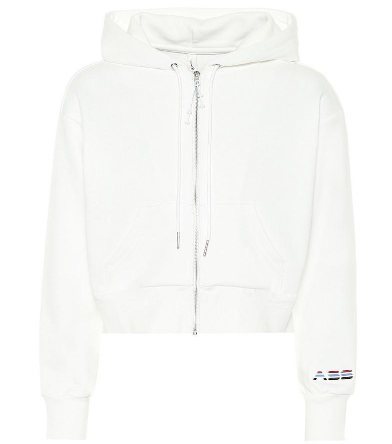 Adam Selman Sport Cropped cotton-blend hoodie in white