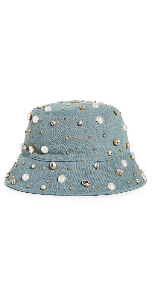 Lele Sadoughi Jeweled Bucket Hat in denim / denim