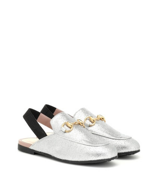 Gucci Kids Princetown glitter slippers in silver