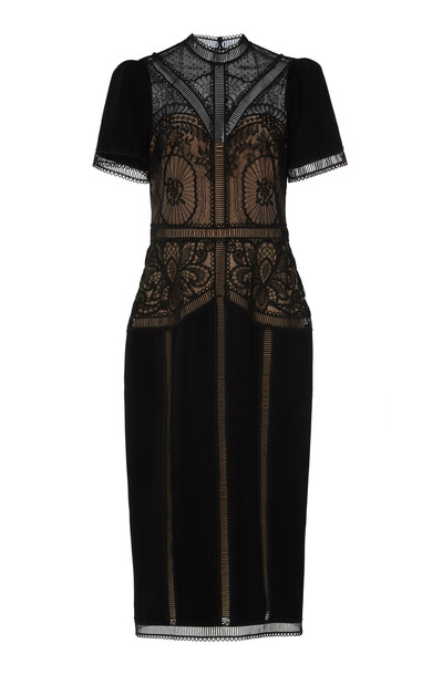 Zuhair Murad Enkei Embroidered Crepe and Silk Lace Midi Dress in black