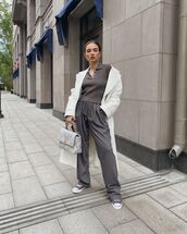 sweater,grey sweater,grey pants,sneakers,long coat,chanel bag