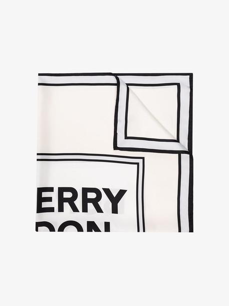 Burberry white 90 x 90 square silk scarf