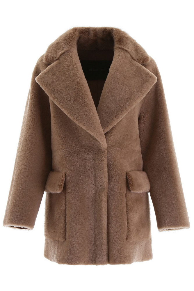 Blancha Shearling Coat With Mink Fur in brown