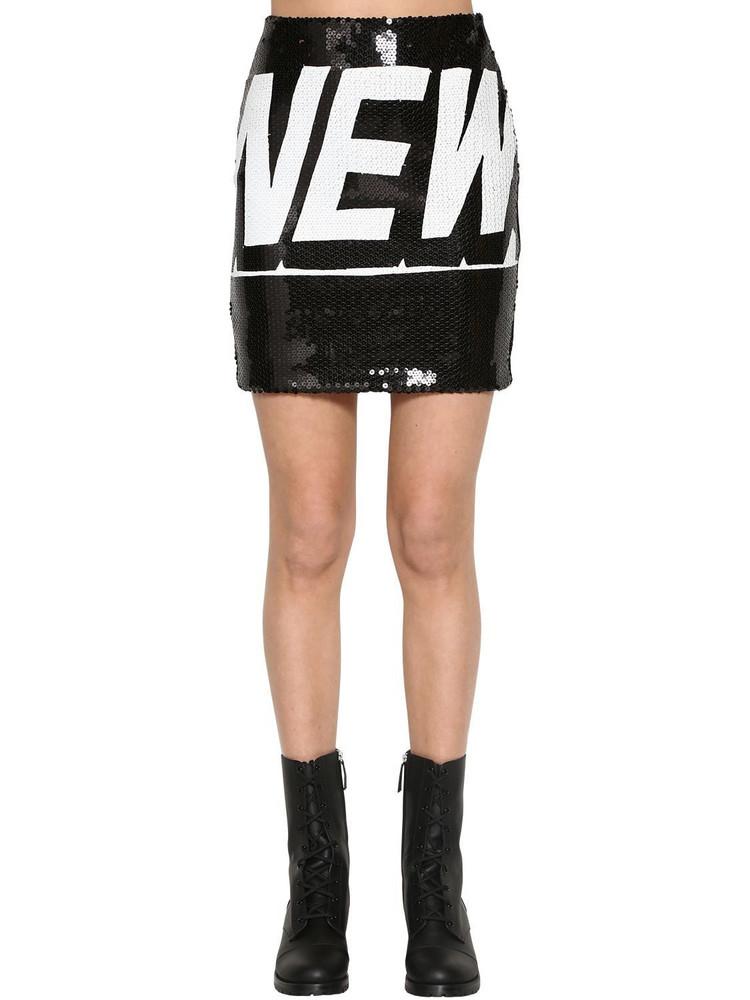 JEREMY SCOTT High Waist Sequined Mini Skirt in black / white