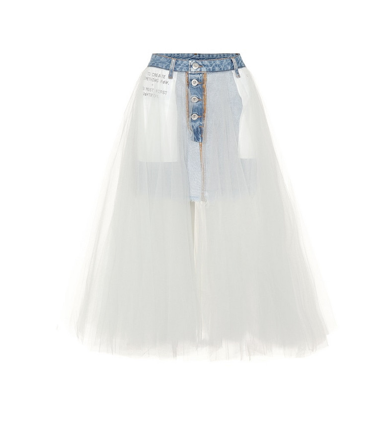 Unravel Denim and tulle skirt in brown