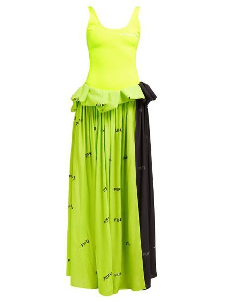 Natasha Zinko - Text Print Stretch Jersey Dress - Womens - Black Multi