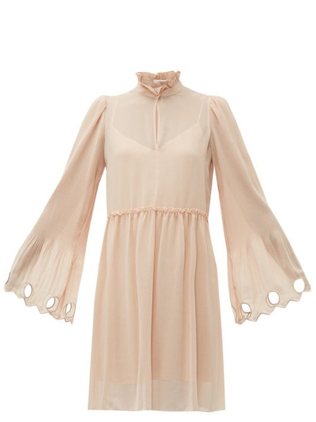 See By Chloé See By Chloé - Gathered Plissé Georgette Dress - Womens - Light Pink