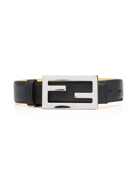 Fendi Kids logo plaque belt - Black