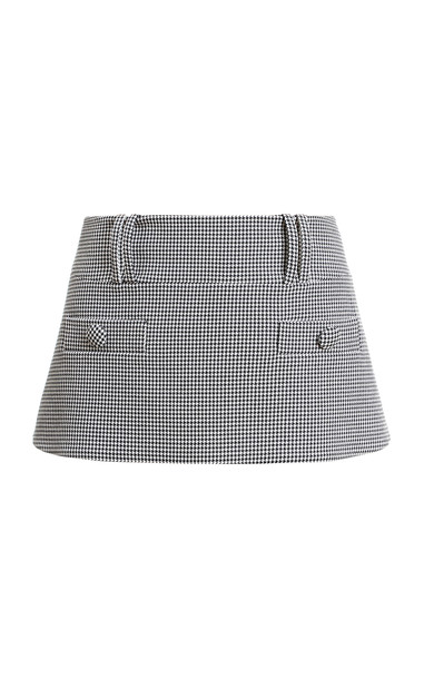 Balmain Low-Rise Houndstooth Cotton Skirt in black