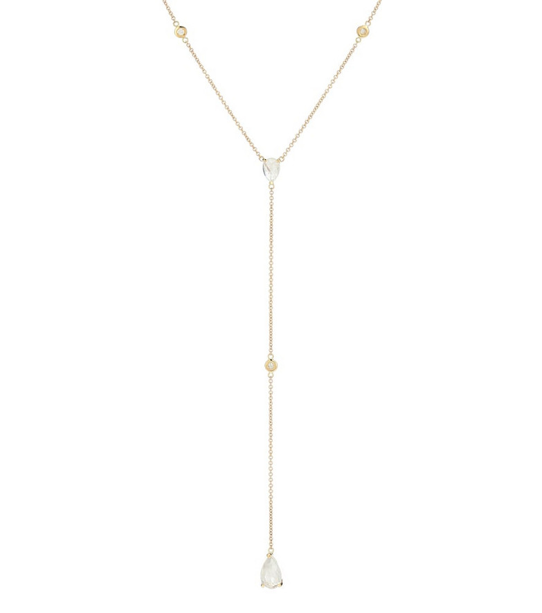 Jacquie Aiche 14kt gold necklace with diamonds and moonstones