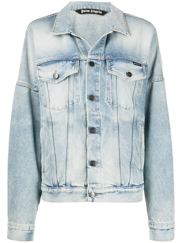 Palm Angels Overlogo print denim jacket in blue