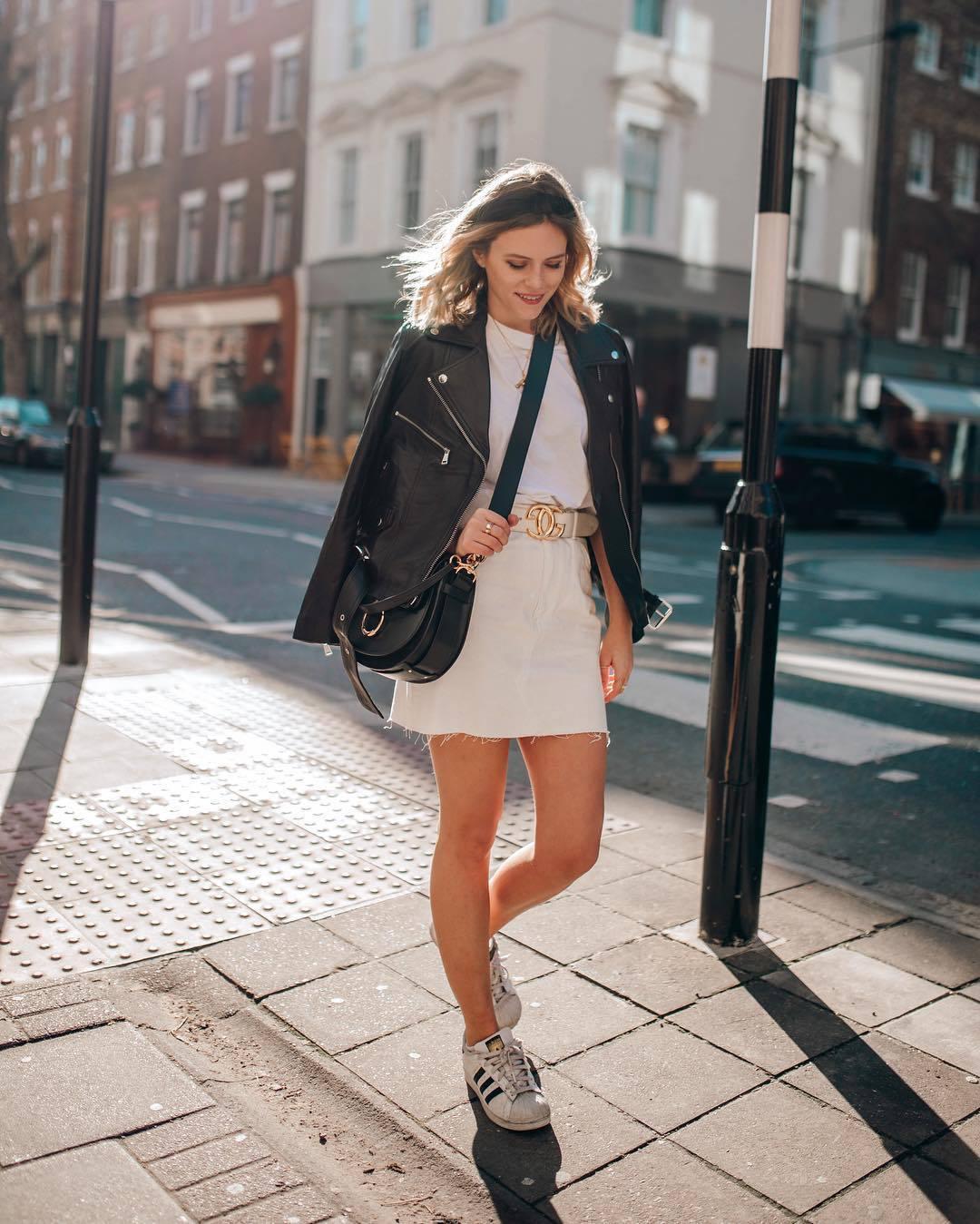 skirt mini skirt high waisted skirt white sneakers adidas black bag black leather jacket chanel belt white t-shirt