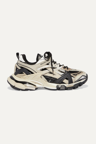 Balenciaga - Track 2 Logo-detailed Metallic Mesh And Rubber Sneakers - Beige