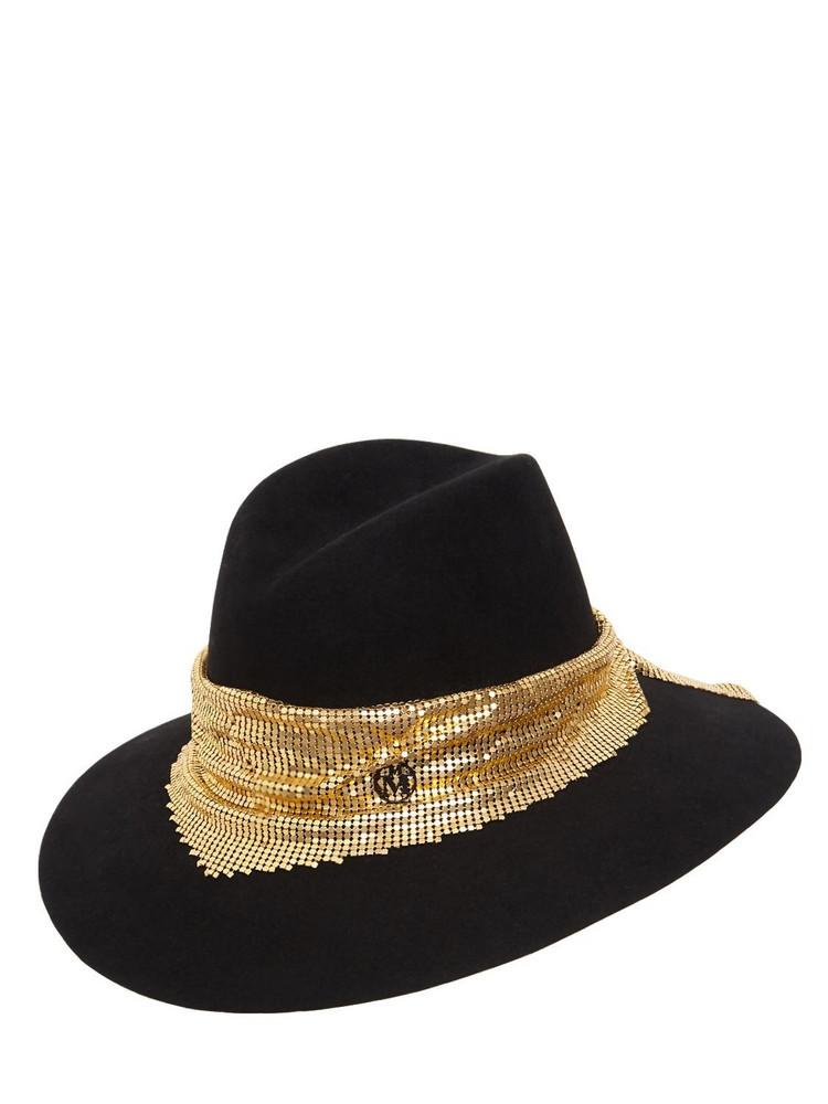 MAISON MICHEL Kate Felt Hat W/ Chain Mesh in black