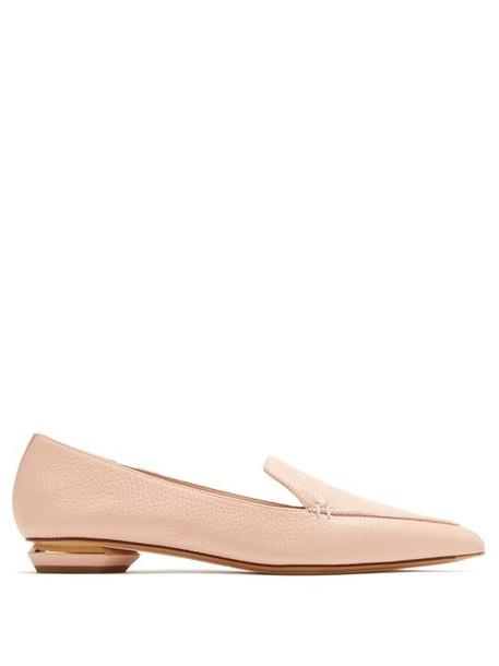 Nicholas Kirkwood - Beya Point Toe Grained Leather Loafers - Womens - Nude